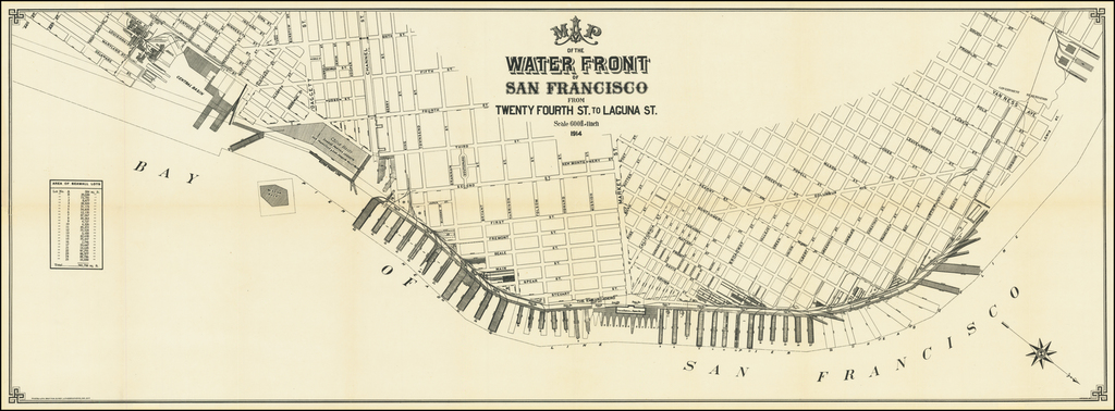 Map of Water Front of the San Francisco From Twenty Fourth St. to Laguna St. . . . 1914 By Britton & Rey