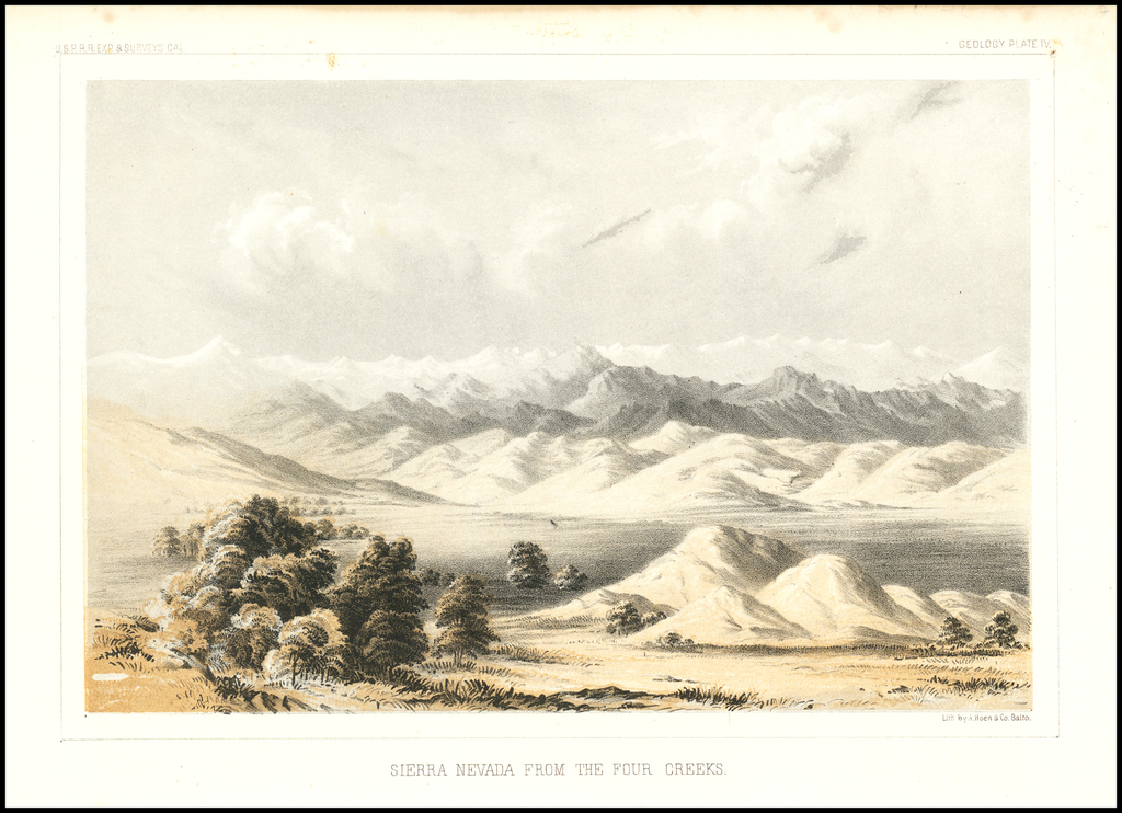 Sierra Nevada From The Four Creeks By U.S. Pacific RR Survey