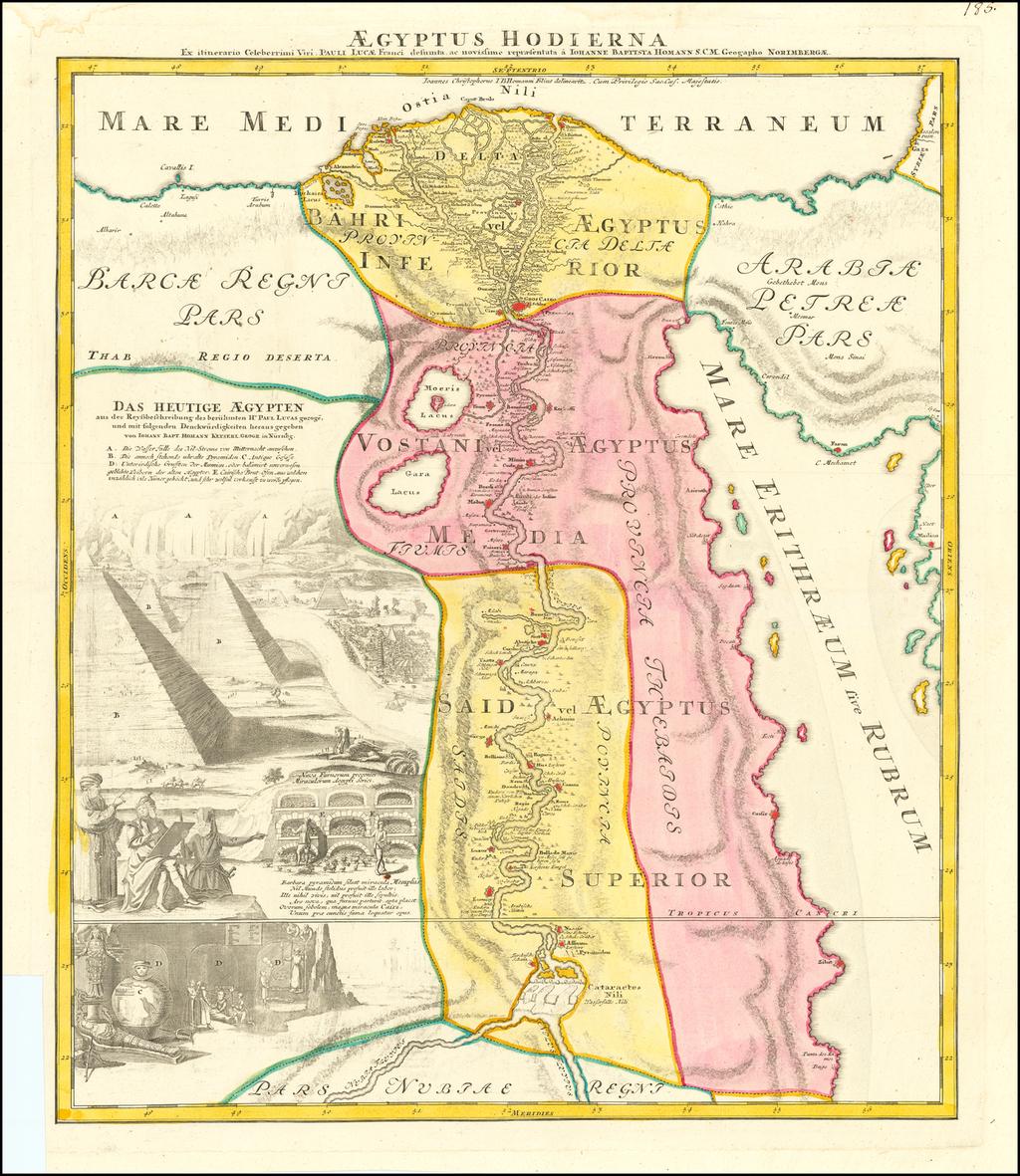 Aegyptus Hodierna Ex itinerario Celeberrimi viri Pauli Lucae, Franci desumta ac novissime repraesentata  By Johann Baptist Homann