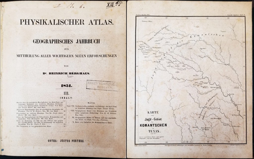 """[Including Comanche Hunting Map, Comanche-German Dictionary and Important Ethnographic Text """"On the Relationship of the Shoshones, Comanches and Apaches]  Physikalischer Atlas Geographisches Jahrbuch zur Mittheilung Aller Wichtigern Neuen Erforschungen von Dr. Heinrich Berghaus 1851.    By Heinrich Berghaus"""