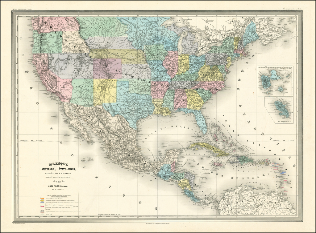 Mexique, Antilles, Etats-Unis (Early Depiction of Idaho Territory & Montana Territory) By Adolphe Hippolyte Dufour