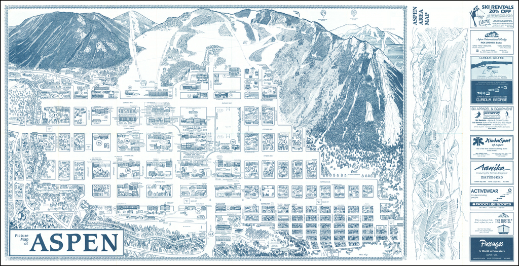Picture Map of Aspen By Chris King