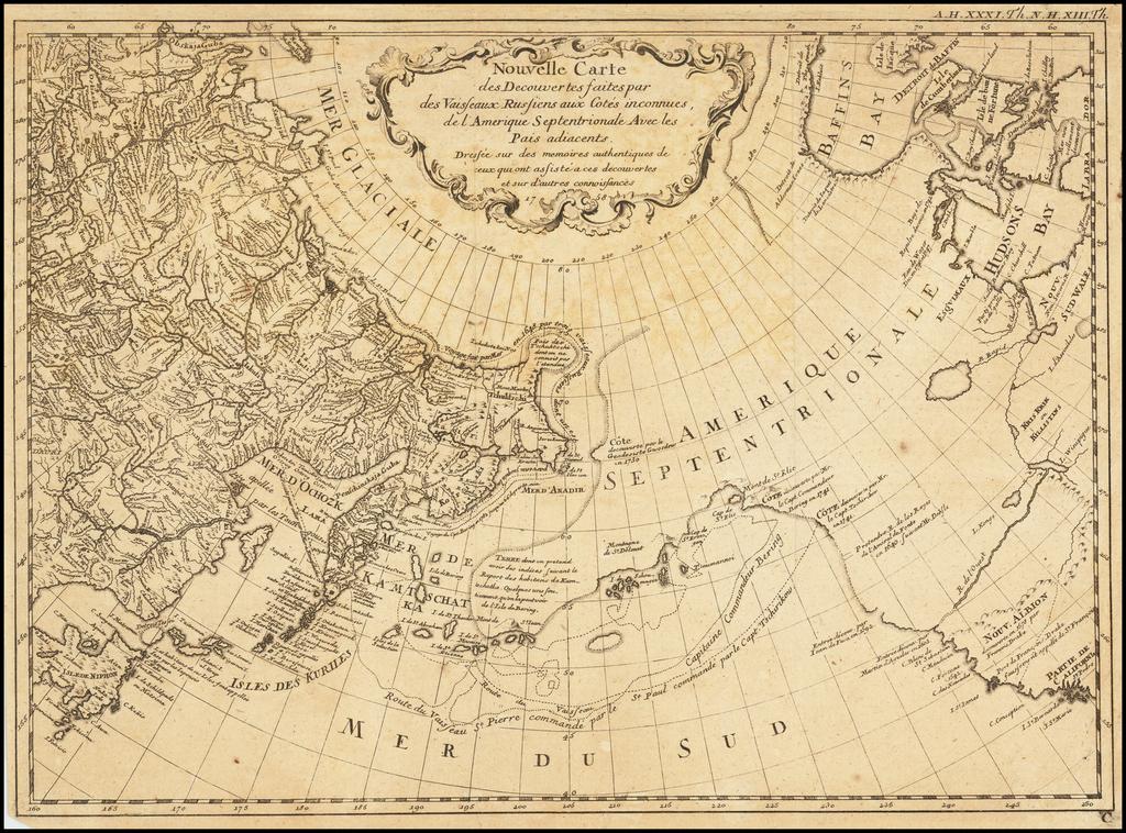 Nouvelle Carte Des Decouvertes Faites par Des Vaisseaux Russiens Aux Cotes Inconnues De L'Amerique Septentrionale . . . 1758 By Gerhard Friedrich Muller