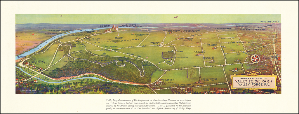 Bird's Eye View of Valley Forge Park, Valley Forge, PA. By J. Howard Mecke, Jr.
