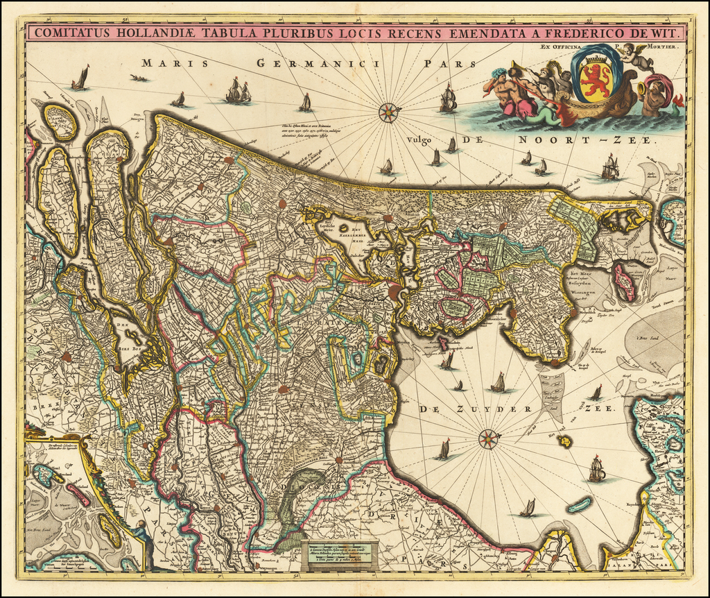 Comitatus Hollandiae Tabula Pluribus Locis Recens Emendata A Francisco Caroli By Frederick De Wit / Pieter Mortier
