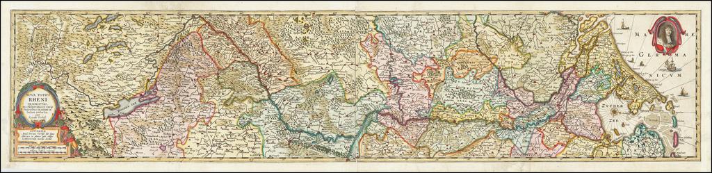 Nova Totius Rheni Descriptio ex celeberrimis et varijs Autoribus, in unam tabulam redacta . . . 1672 By Peter Verbiest