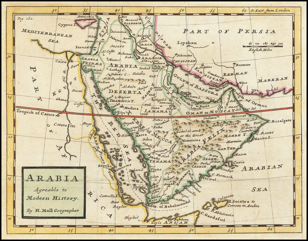 Arabia Agreeable to Modern History . . . By Herman Moll