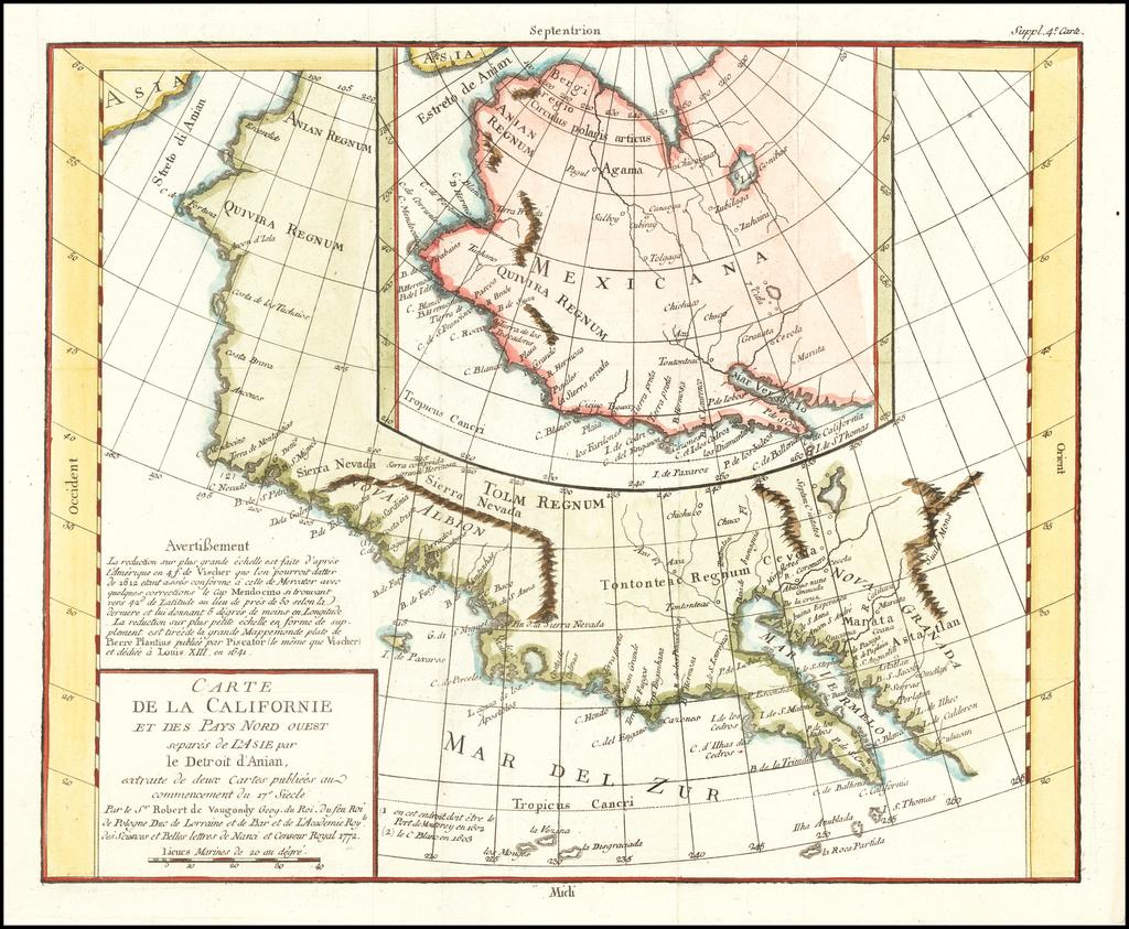Carte De La Californie Et Des Pays Nord Ouest separes de L'Asie par le Detroit d'Anian…1772 By Denis Diderot / Didier Robert de Vaugondy