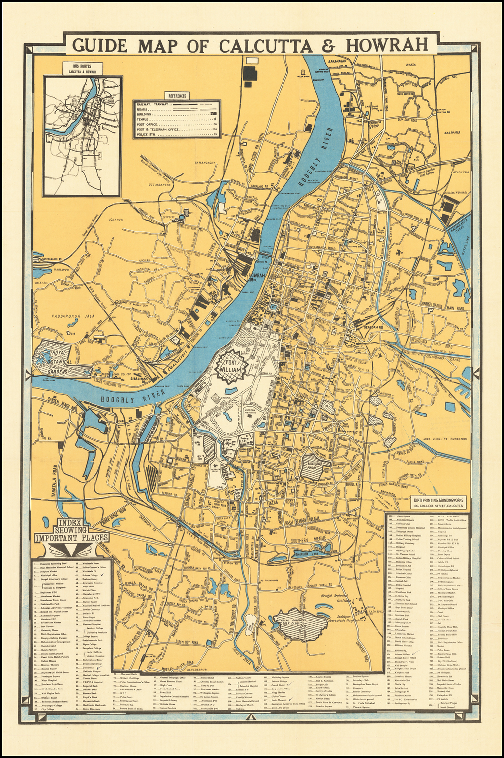 Guide Map of Calcutta & Howrah By