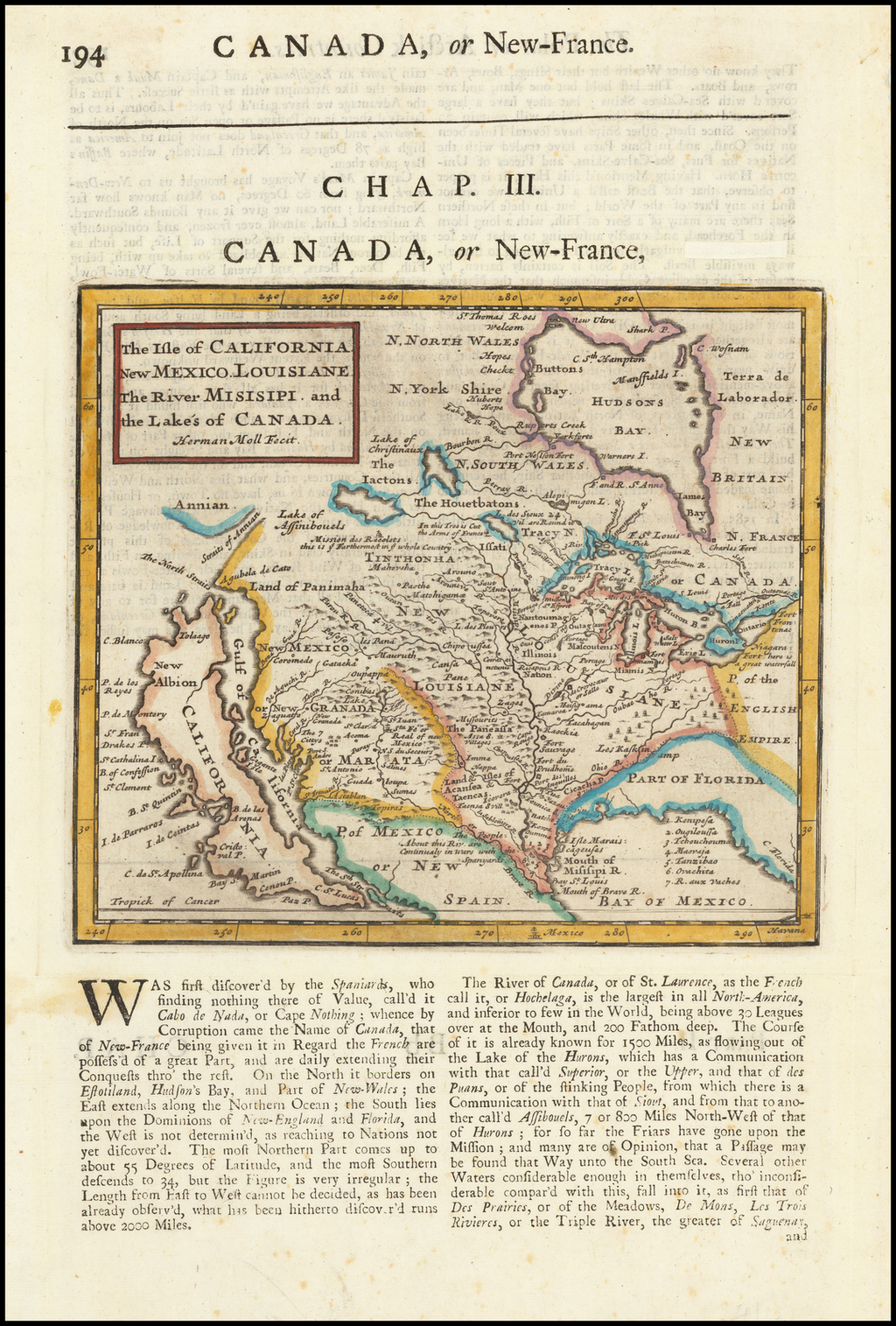 The Isle of California, New Mexico, Louisiane, The River Misisipi and the Lakes of Canada… By Herman Moll