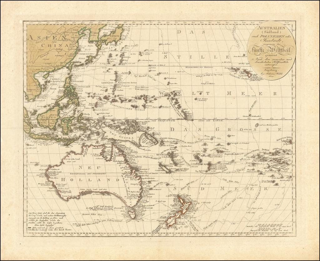 Australien (Sudland) auch Polynesien oder Inselwelt, insgemein der funfte Welltheil . . . 1802 By Johann Walch