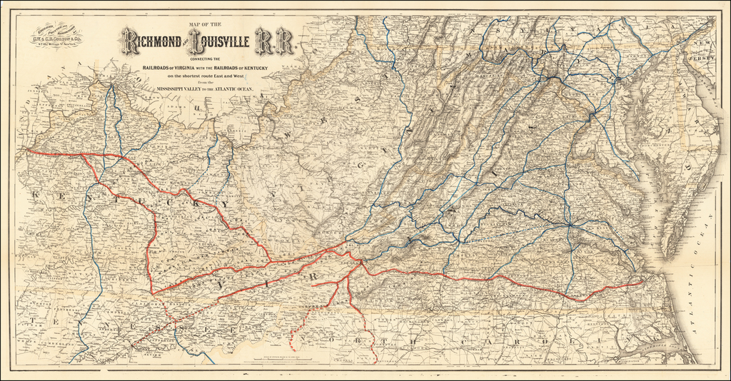 Map of the Richmond and Louisville R.R. Connecting The Railroads of Virginia with the Railroads of Kentucky on the shortest route East and West from the Mississippi Valley to the Atlantic Ocean By G.W.  & C.B. Colton