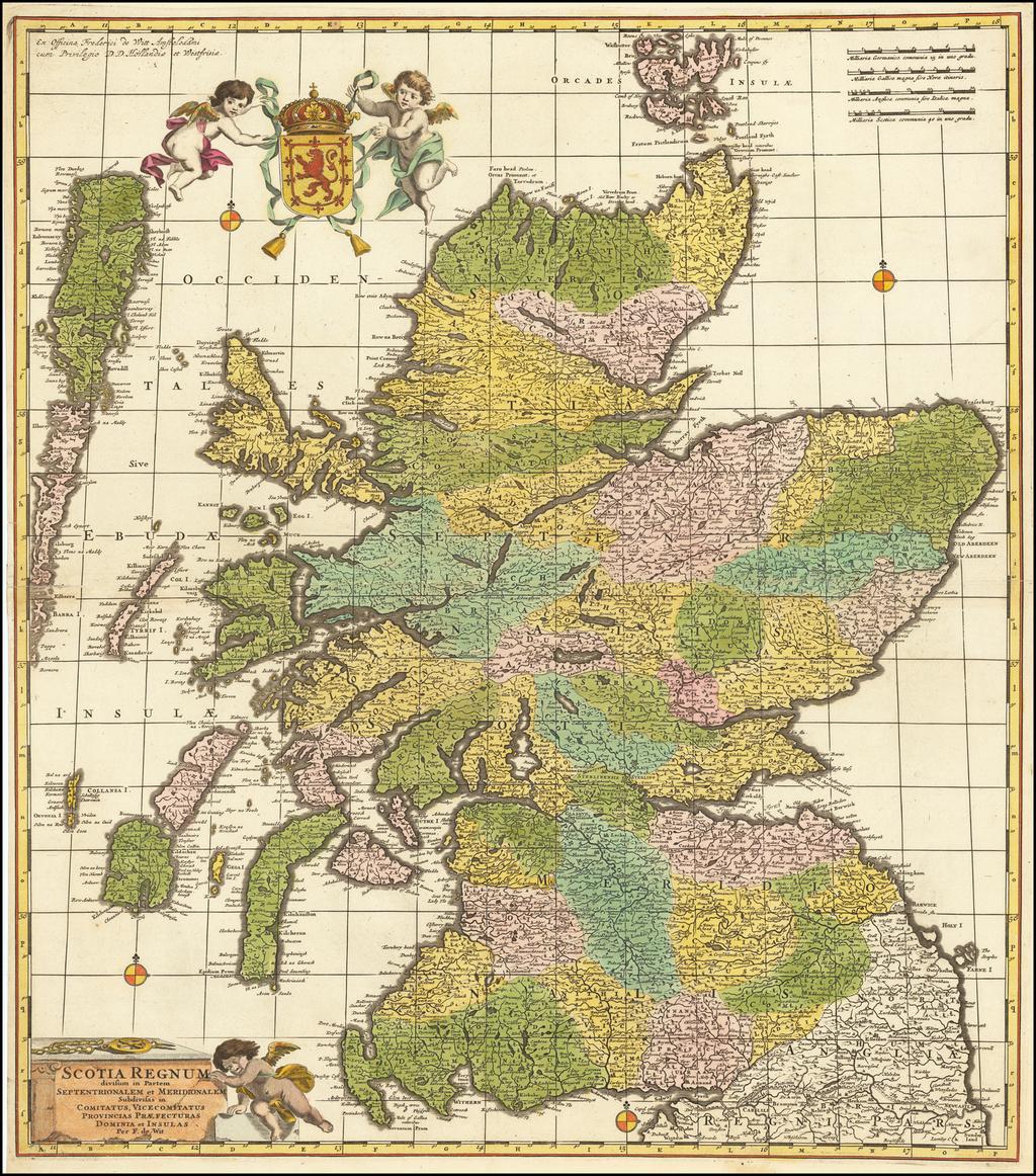 Scotia Regnum divisum in Partem Septentrionalem et Meridionalem Subdivisas in Comitatus, Vicecomitatus, Provincias Praefecturas Dominia et Insulas . . .  By Frederick De Wit