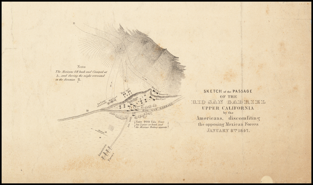 Sketch of the Passage of the Rio San Gabriel Upper California by the Americans,  discomfiting the opposing Mexican Forces January 8th 1847 By William Hemsley Emory