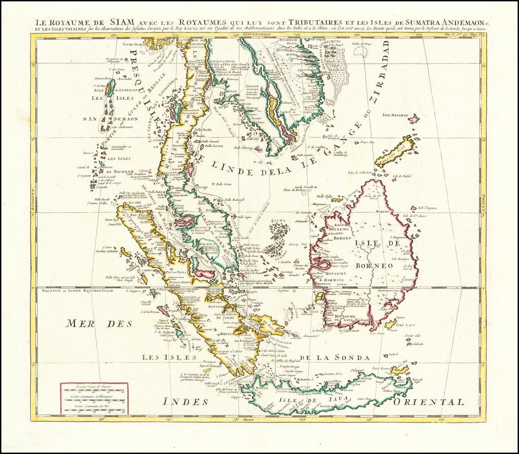 Le Royaume de Siam Avec les Royaumes qui luy sont Tributares et les Isles de Sumatra, Andemaon, etc. et les Isles Voisine  Avec les Observations des Six Peres Jesuits . . . By Henri Chatelain
