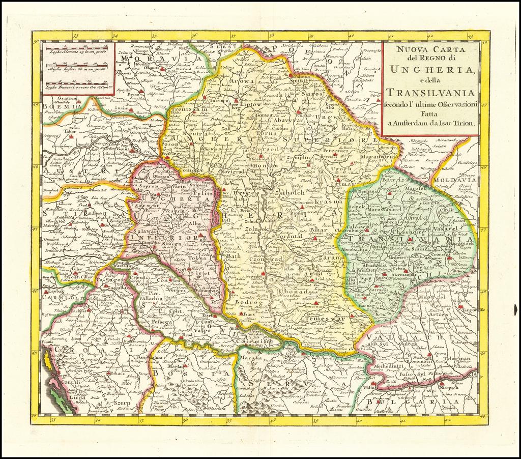 Nuova Carta del Regno di Ungheria e della Transilvania secondo l'ultime Osservazioni . . .  By Issac Tirion
