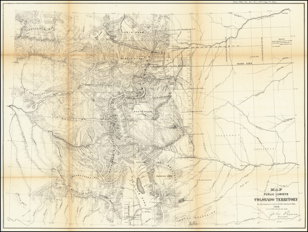 Map of the Public Surveys in Colorado Territory to accompany a report of the Surveyor Gen. 1863 By U.S. General Land Office Survey
