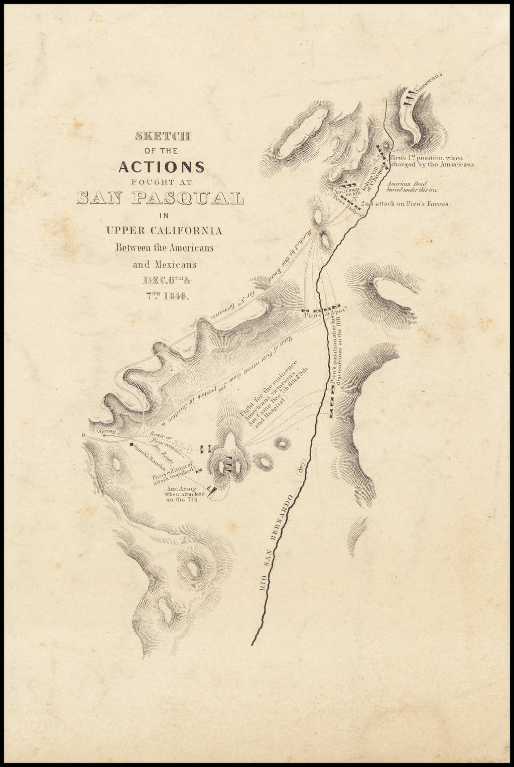 Sketch of the Actions Fought At San Pasqual in Upper California Between the Americans and Mexicans Dec. 6th & 7th 1846 By William Hemsley Emory
