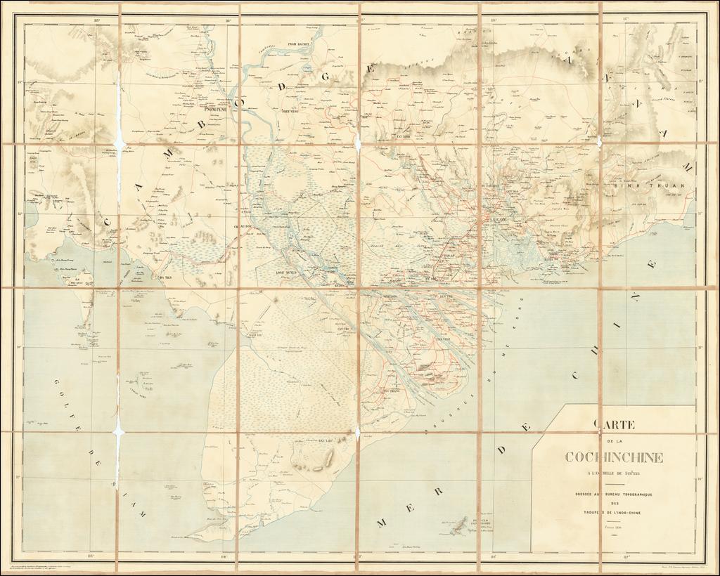 [South Vietnam & Cambodia] Carte de la Cochinchine  . . . Dressee au Bureau Topographique Des Troupes De L'Indo-Chine Fevrier 1890 By F. H. Schneider