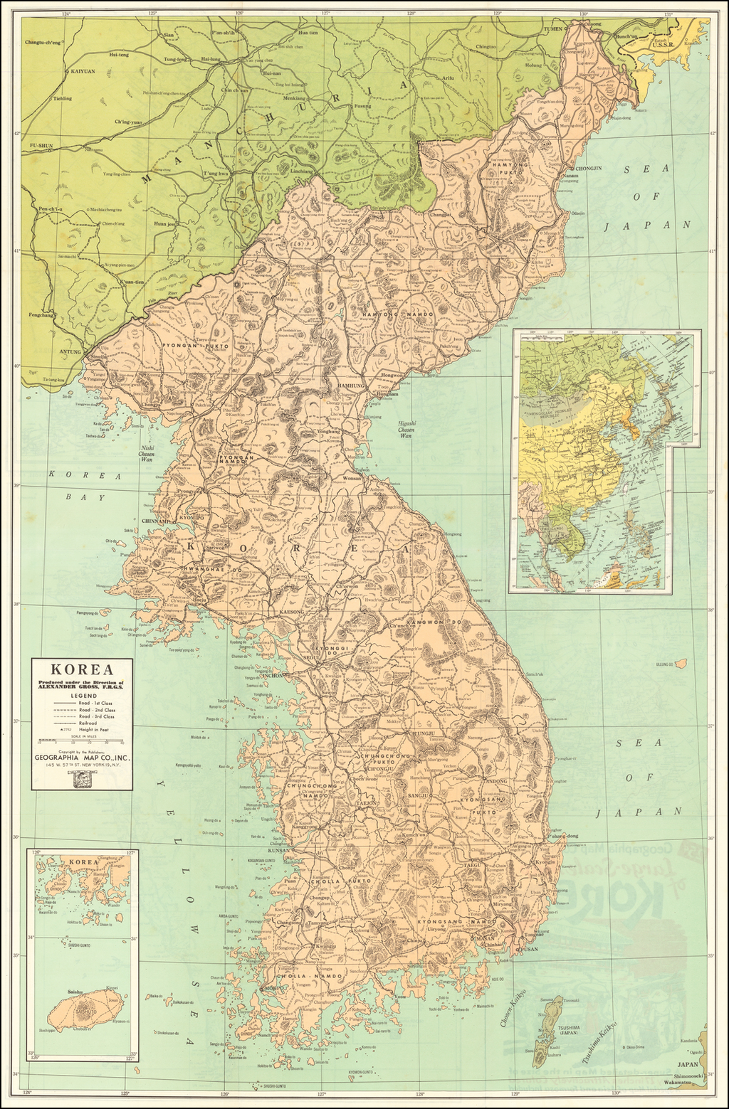 Geographia Map Company's Large Scale Map of Korea By Geographia