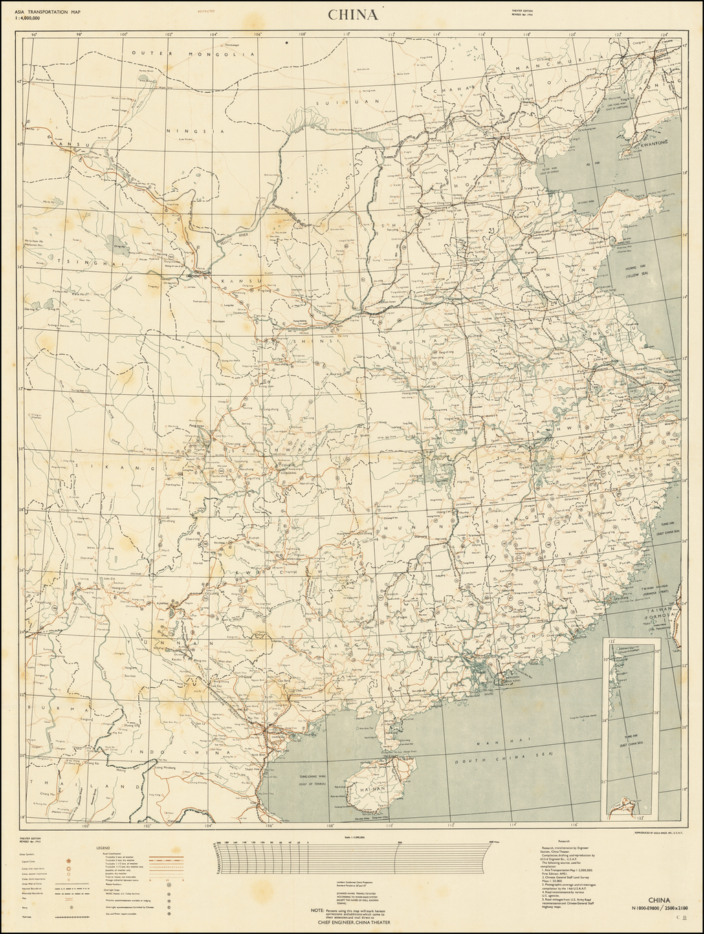 (Second World War - China). Asia Transportation Map | Restricted | China By 653rd Engineer Topographic Battalion, U.S.A.F.