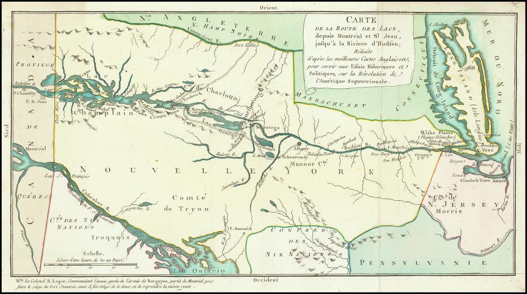 Carte de la Route des Lacs, depuis Montreal et St. Jean, jusqu'a a la Riviere d'Hudson; Reduite d'apres les meilleures Cartes Anglaises pour servir aux Seeais Historiques et Politiques, sur la Revolution de l'Amerique Septenrionale. By Michel Rene Hilliard d'Auberteuil