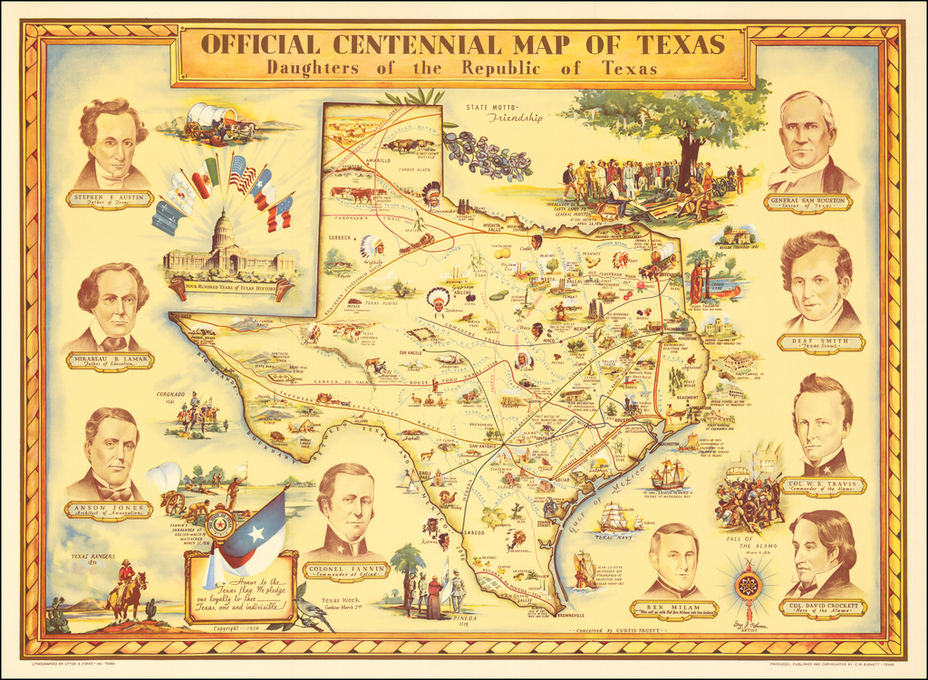 Official Centennial Map of Texas Daughters of the Republic of Texas By Guy  F. Cahoon