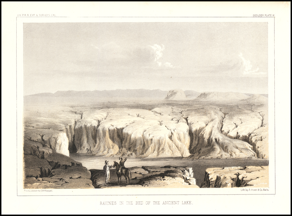 Ravines in the Bed of the Ancient Lake By U.S. Pacific RR Survey
