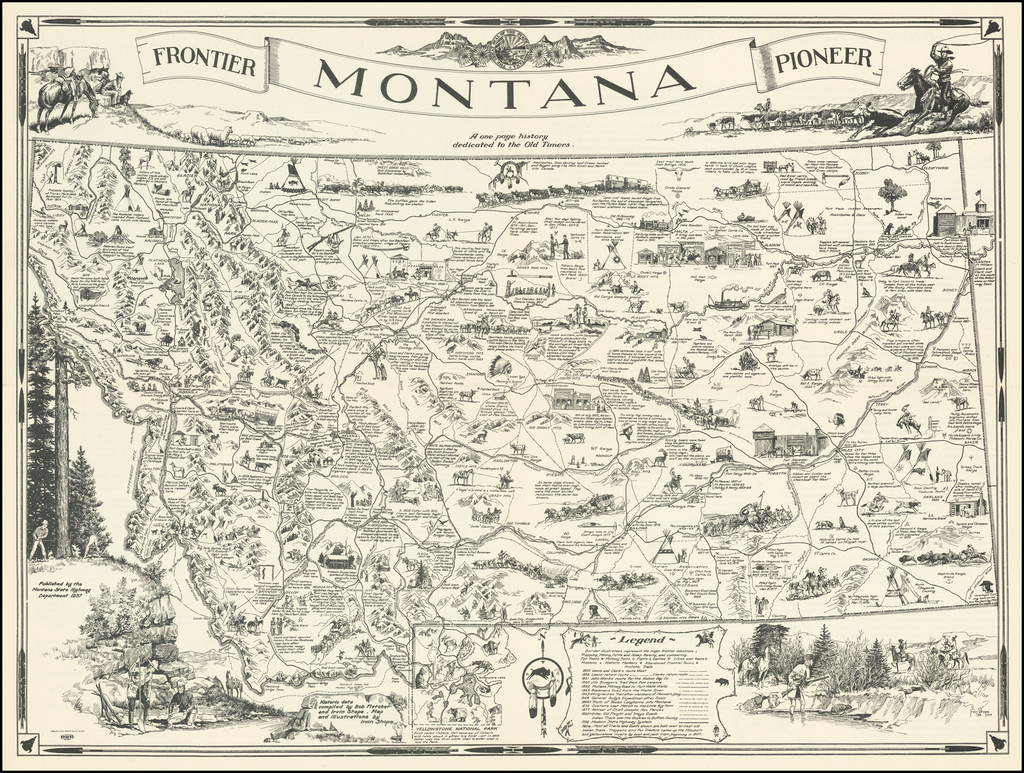 A Map of Montana Whereon Is Depicted And Inscribed The Pioneer History of the Land of Shining Mountains By Irvin Shope