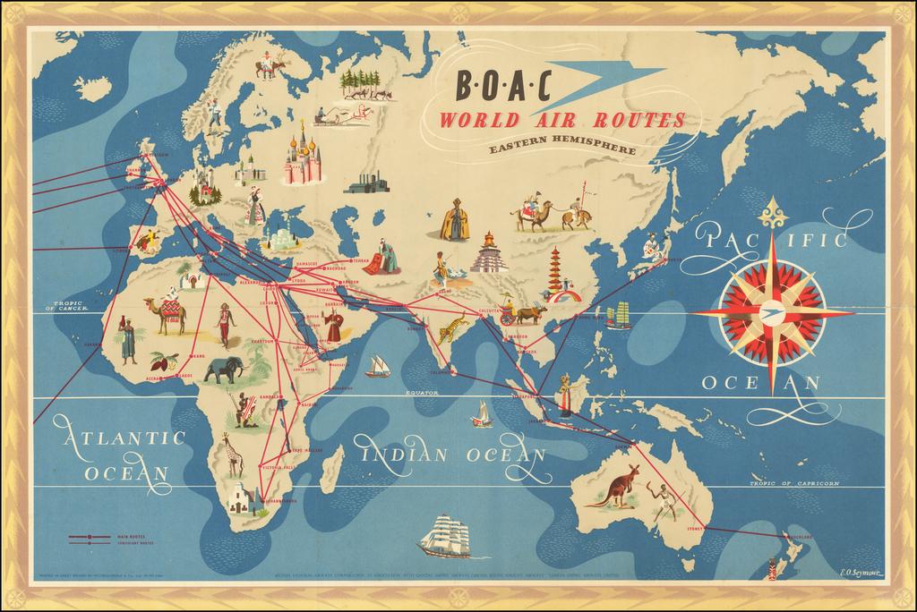 B.O.A.C World Air Routes  By E. O. Seymour