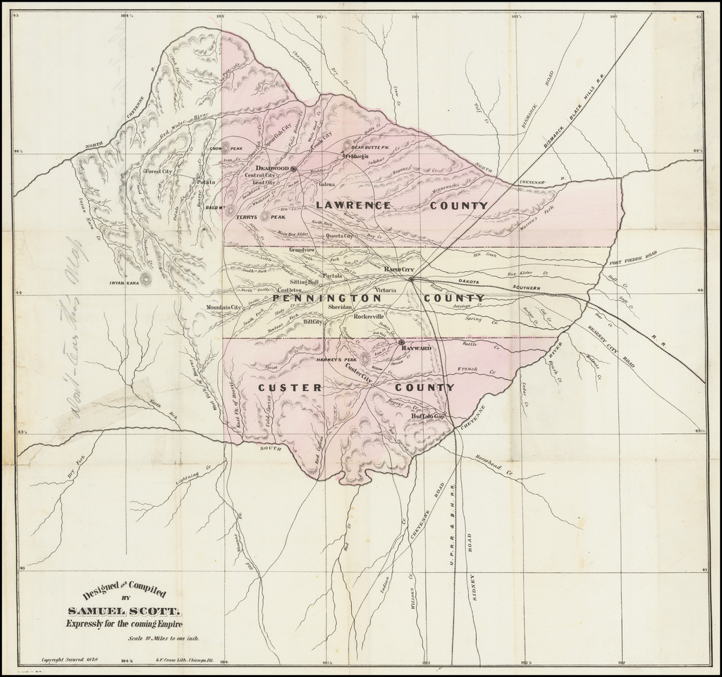 (Black Hills, South Dakota) [Map of Lawrence, Pennington, and Custer Counties and surrounding territory.] By George F. Cram  &  Samuel Scott