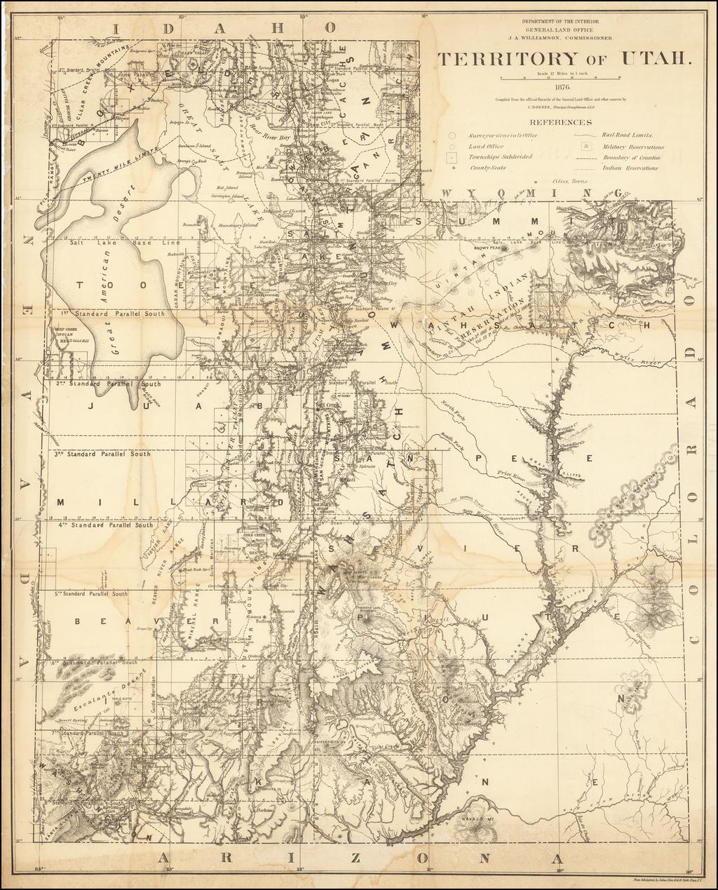 Territory of Utah . . . 1876 By General Land Office