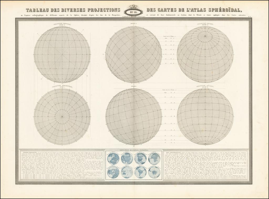 Tableau Des Diversis Projections Des Cartes De L'Atlas Spheroidal By F.A. Garnier