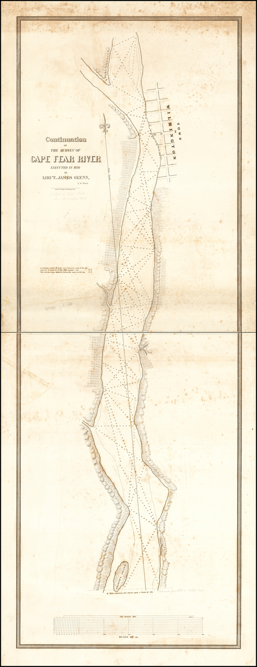 Continuation of The Survey of Cape Fear River Executed in  1839 Lieut. James Glynn,  U.S Navy By James Glynn