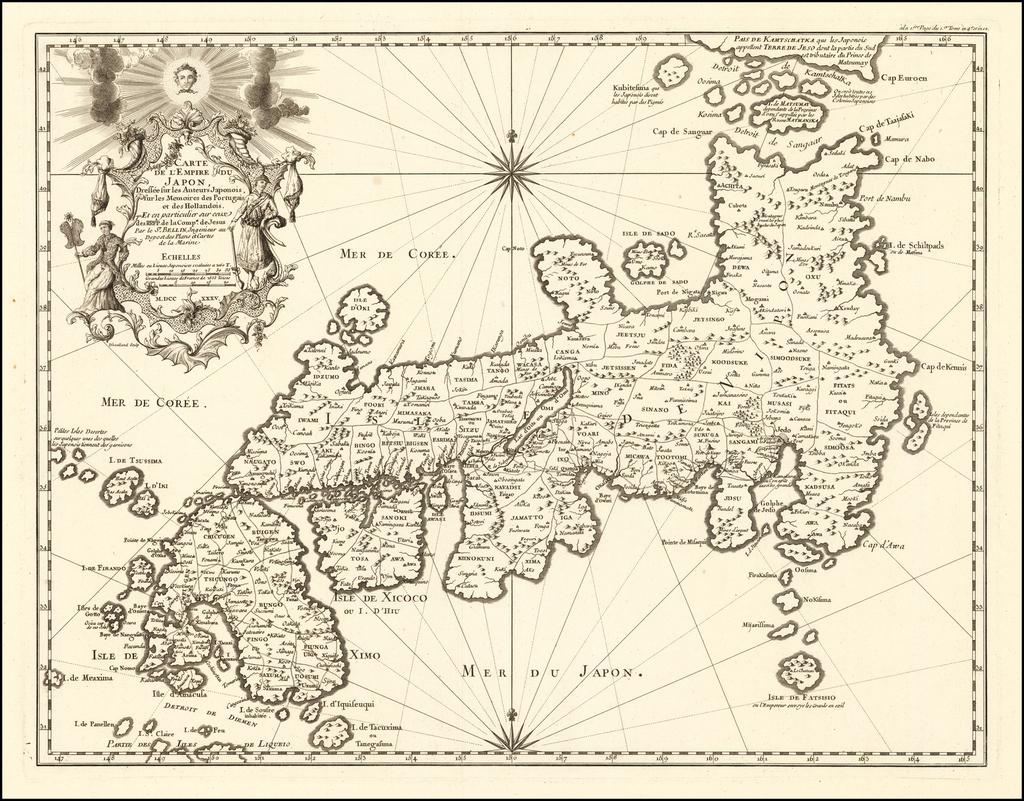 Carte de l'Empire du Japon, Dressee sur les Auteurs Japonois, sur les Memoires des Portugais et des Hollandois.  Et en Particulier sur ceux des RRPP. de Compe. de Jesus . . . M.DCC XXV. By Jacques Nicolas Bellin