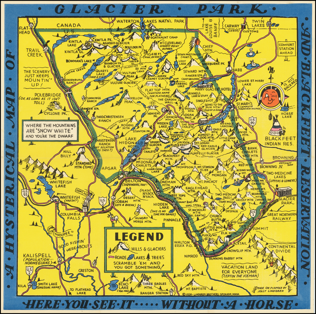 A Hysterical Map of Glacier Park and Blackfeet Reservation By Lindgren Brothers