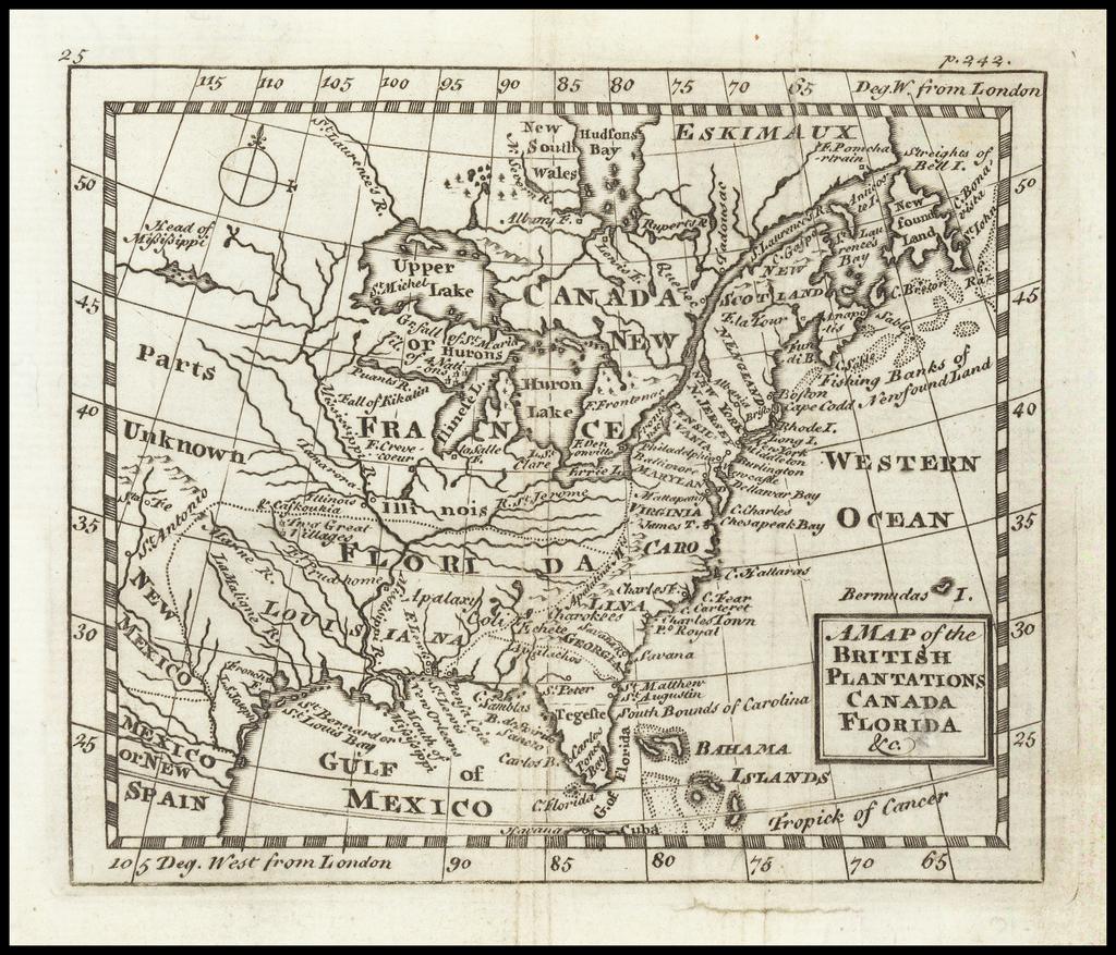A Map of the British Plantations Canada Florida &c.  By John Cowley