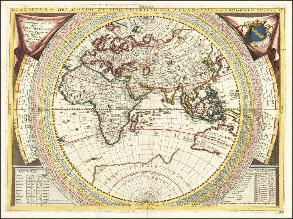 Planisfero Del Mondo Vecchio, Descritto Dal P. Coronelli, Cosmographo Publico By Vincenzo Maria Coronelli