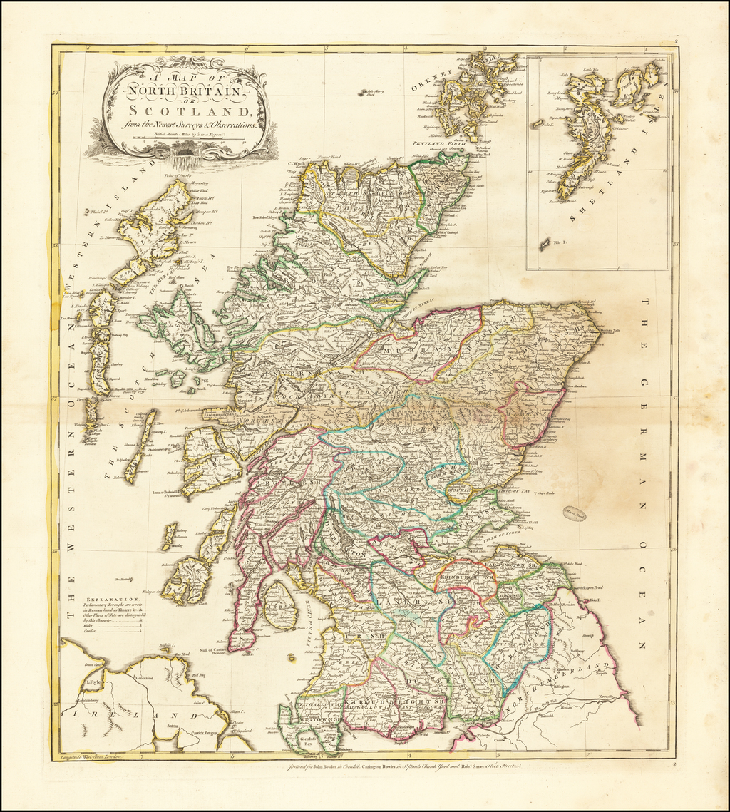 A Map of North Britain or Scotland from the Newest Surveys & Observations By Carrington Bowles  &  John Bowles  &  Robert Sayer