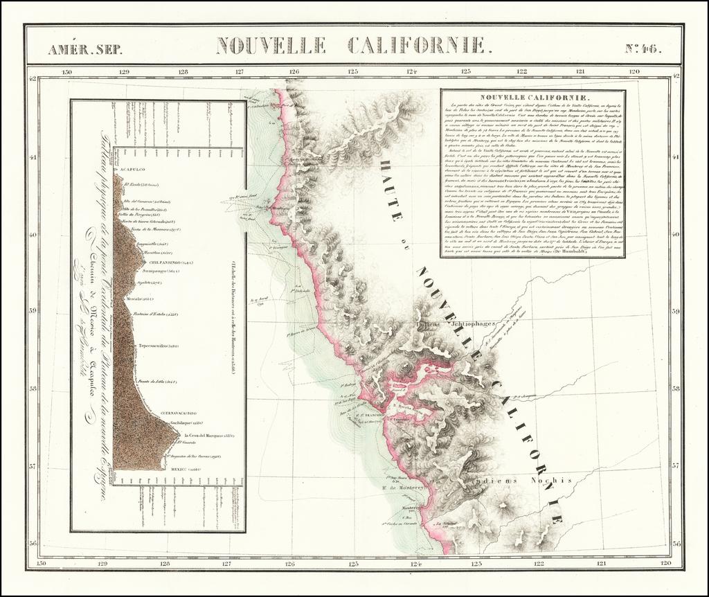 [San Francisco Bay, North Coast & Monterey Bay Region] Amer. Sep.  No. 46  Nouvelle Californie  By Philippe Marie Vandermaelen