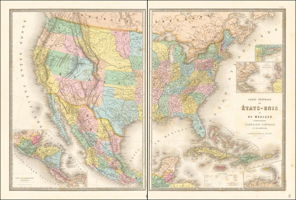 [Shows Territories of Colona (Colorado) and Shoshone (Idaho)] Carte Generale Des Etats-Unis Et Du Mexique . . . 1862 By Eugène Andriveau-Goujon
