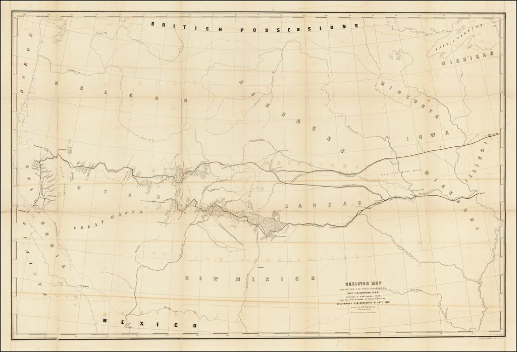 Skeleton Map Exhibiting The Route Explored By Capt. J.W. Gunnision U.S.A. 38 Parallel of North Latitude - (1853).  Also that of the 41 Parallel of Latitude Explored by Lieutentant E.G. BEskwith 3d Arty (1854).  Drawn by J.W. Egloffstein By U.S. Pacific RR Surveys