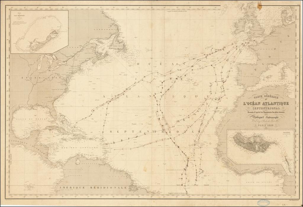 Carte Generale de  L'Ocean Atlantique Septentrionale Dressee d'apres les Documents les plus recentes . . . 1855 (large insets of Bermuda and Madeira) By Aime Robiquet
