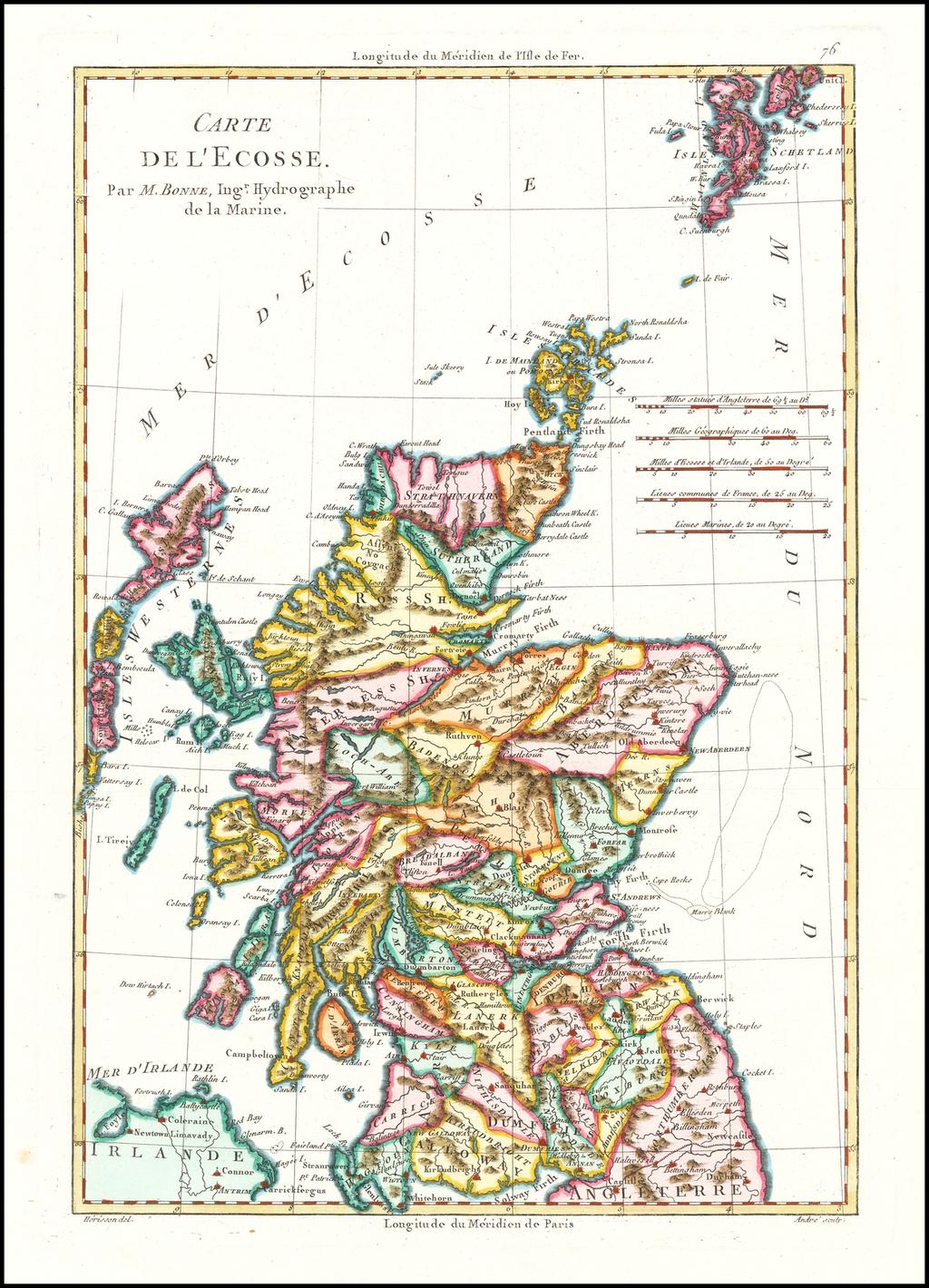 [Scotland]  Carte De L'Ecosse By Rigobert Bonne