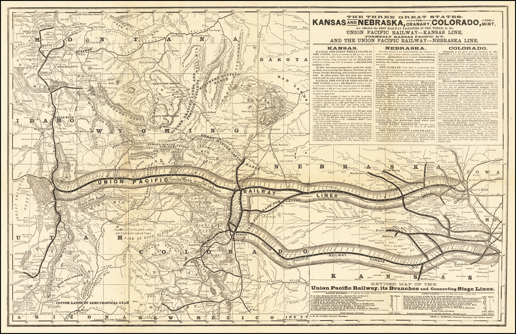 Revised Map of the Union Pacific Railway, Its Branches and Connecting State Lines By Rand McNally & Company