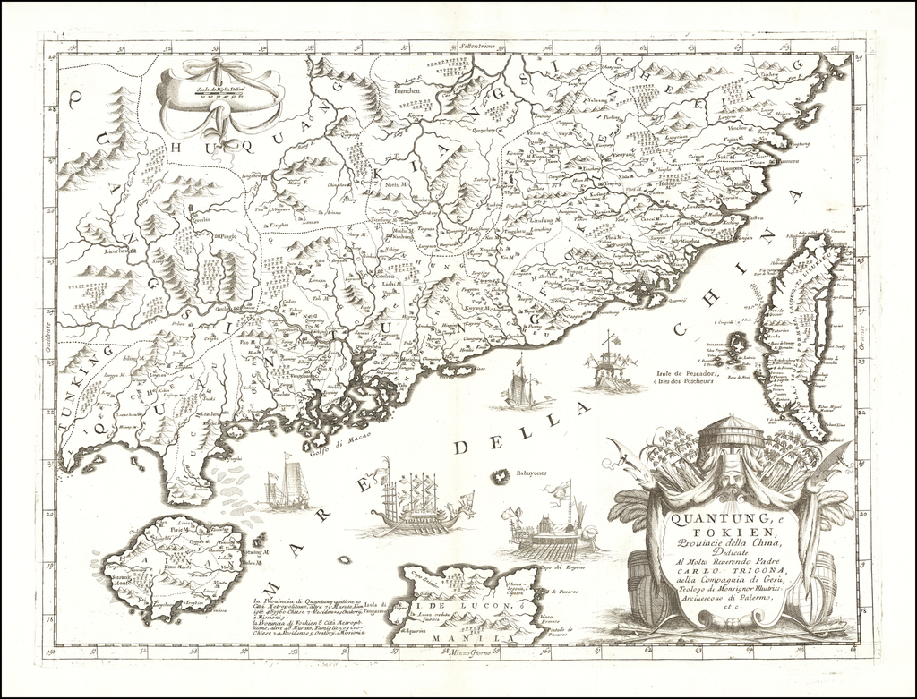 [Includes the Isle of Luzon or Manila!]  Quantung, e Fokien, Provincie della China . . .  By Vincenzo Maria Coronelli