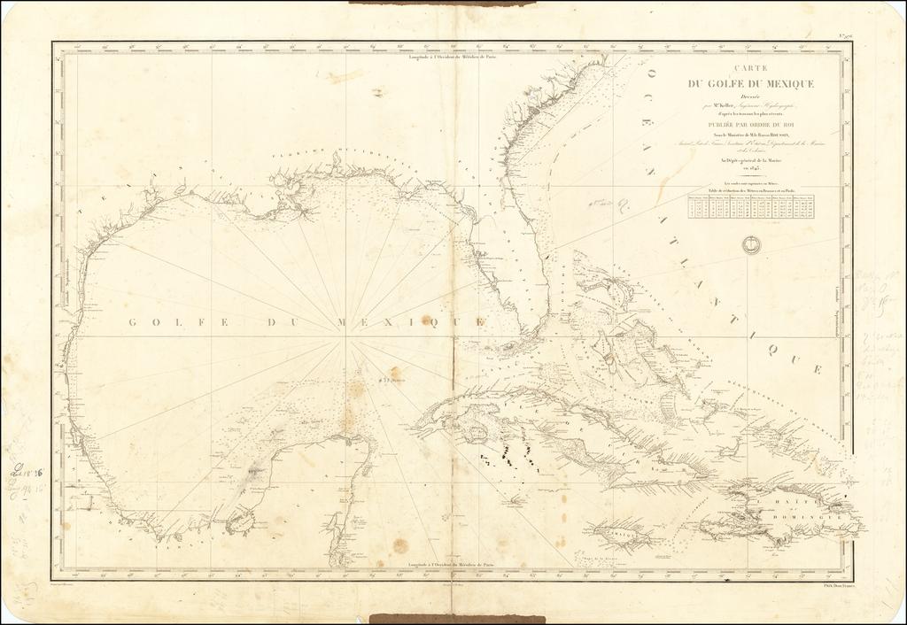 Carte du Golfe du Mexique Dressee par Mr. Keller, Ingenieur Hydrographe, d'apres les travaux les plus recents.  . . . 1843 By Depot de la Marine