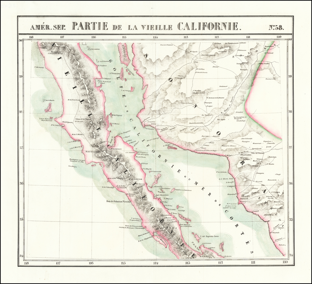 Amer. Sep. No. 58  Partie De La Vieille Californie  [Baja California, Gulf of California and Sonora] By Philippe Marie Vandermaelen