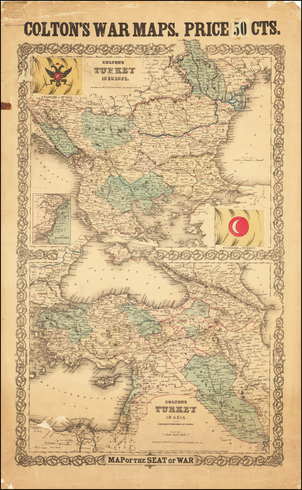 Map of the Seat of War -- Colton's Turkey In Europe (and) Colton's Turkey in Asia and the Caucasian Provinces of Russia By Joseph Hutchins Colton