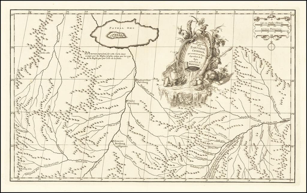 Onzieme Feuille particul de la Tartarie Chinoise qui contenant un Pays dependant de la Russie au Couchant de Niptchou By Jean-Baptiste Bourguignon d'Anville